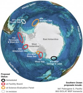 Locations and status of proposed IODP expeditions, February 2016. Map updated from SCAR PRAMSO (Scientific Committee on Antarctic Research, Paleoclimate Records form the Antarctic Margin and Southern Ocean) workshop document, August 2014.