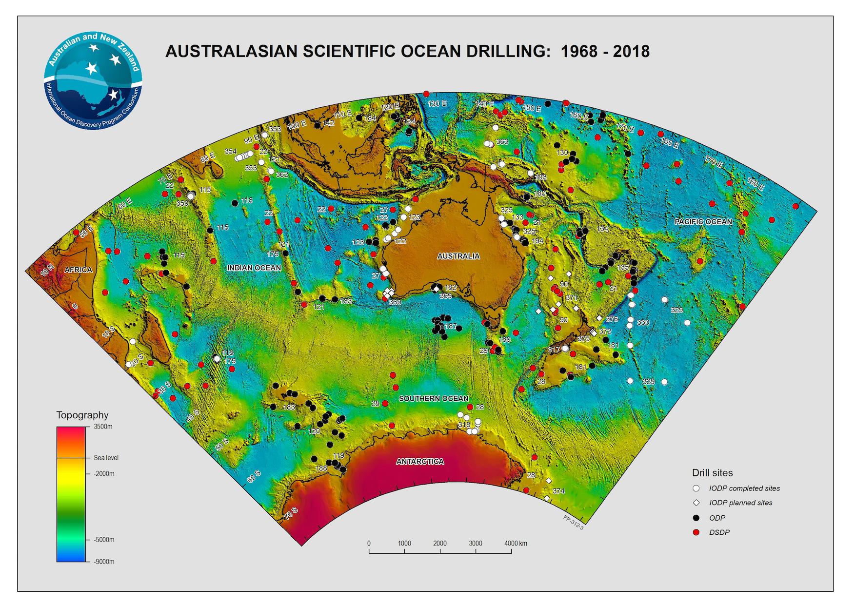 Australian Scientific Ocean Drilling (1968-2018), from Geoscience Australia